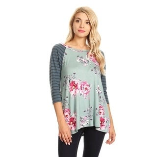 Women's Striped Sleeve Floral Tunic (More options available)