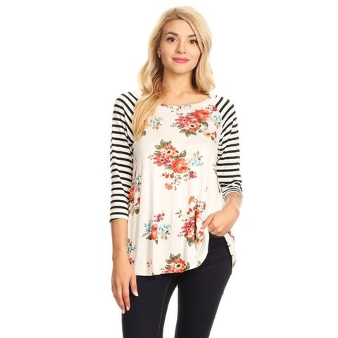 Women's Striped Sleeve Floral Tunic