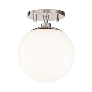 Mitzi by Hudson Valley Stella 1-light Polished Nickel Semi-Flush Mount, Opal Glossy Glass
