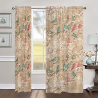 "Laural Home Birds in Bloom 84 Inch Room Darkening Curtain Panel - 84l""x50w"""