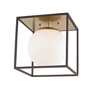 Mitzi by Hudson Valley Aira 1-light Aged Brass 9.5-inch Flush Mount with Black Accents, Opal Etched Glass