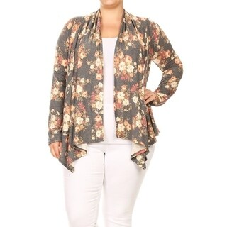 Women's Plus Size Floral Pattern Loose Fit Cardigan