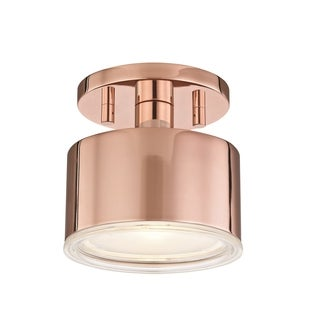 Mitzi by Hudson Valley Nora LED Polished Copper Flush Mount, Clear Glass