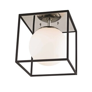 Mitzi by Hudson Valley Aira 1-light Polished Nickel 9.5-inch Flush Mount with Black Accents, Opal Etched Glass