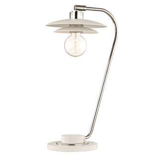 Mitzi by Hudson Valley Milla 1-light Polished Nickel Table Lamp with White Accents