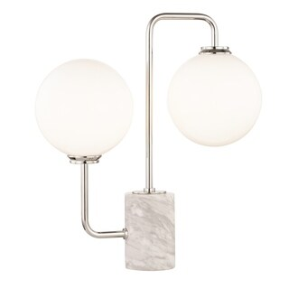 Mitzi by Hudson Valley Mia LED Polished Nickel Table Lamp, Opal Etched Glass