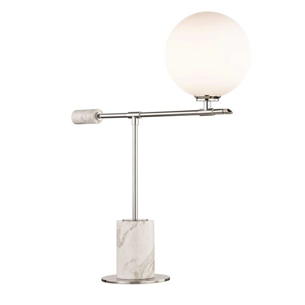 Mitzi by Hudson Valley Bianca LED Polished Nickel Table Lamp, Opal Etched Glass