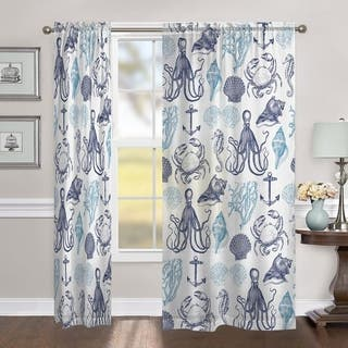 Laural Home Ocean Creatures 84 Inch Sheer Curtain Panel|https://ak1.ostkcdn.com/images/products/17120384/P23388560.jpg?impolicy=medium