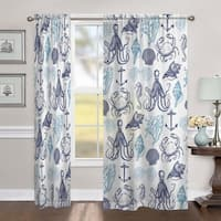 "Laural Home Ocean Creatures 84 Inch Sheer Curtain Panel - 84l""x50w"""
