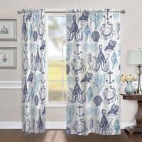 Laural Home Ocean Creatures 84 Inch Sheer Curtain Panel
