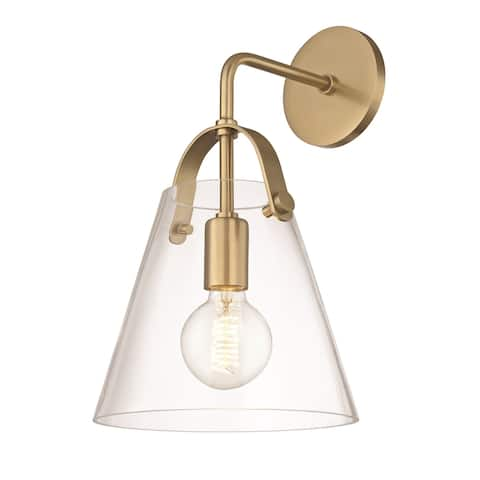 Mitzi by Hudson Valley Karin 1-light Aged Brass Wall Sconce, Clear Glass