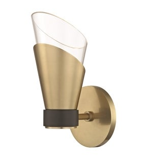 Mitzi by Hudson Valley Angie LED Aged Brass 9.75-inch Wall Sconce with Black Accents, Clear Glass