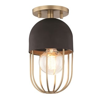 Mitzi by Hudson Valley Haley 1-light Aged Brass Flush Mount with Black Accents