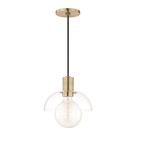 Mitzi by Hudson Valley Kyla 1-light Aged Brass Pendant, Clear Glass