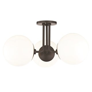 Mitzi by Hudson Valley Stella 3-light Old Bronze Semi-Flush Mount, Opal Glossy Glass