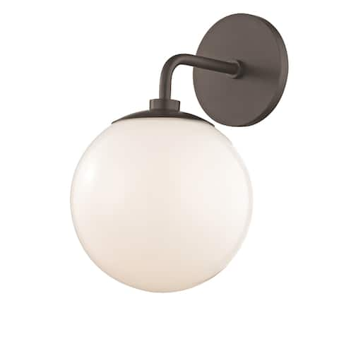 Mitzi by Hudson Valley Stella 1-light Old Bronze Wall Sconce, Opal Glossy Glass