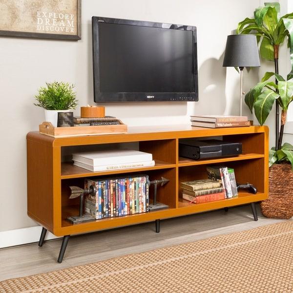 shop 58 inch rounded corner wood tv stand acorn black. Black Bedroom Furniture Sets. Home Design Ideas
