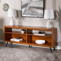 58-inch Rounded Corner Wood TV Stand - Acorn/ Black
