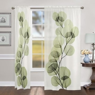 Laural Home X-Ray Leaf 84 Inch Sheer Curtain Panel