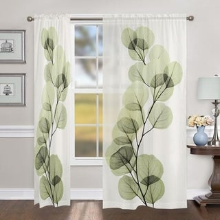 "Laural Home X-Ray Leaf 84 Inch Sheer Curtain Panel - 84l""x50w"""