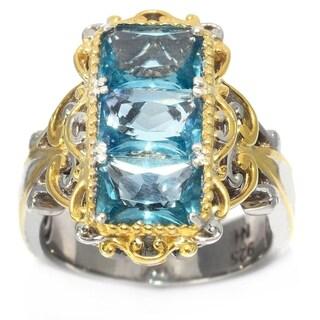 Michael Valitutti Palladium Silver Brazilian Fluorite Three-Stone Elongated Ring - Blue
