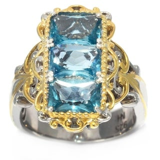 Michael Valitutti Palladium Silver Brazilian Fluorite Three-Stone Elongated Ring - Blue
