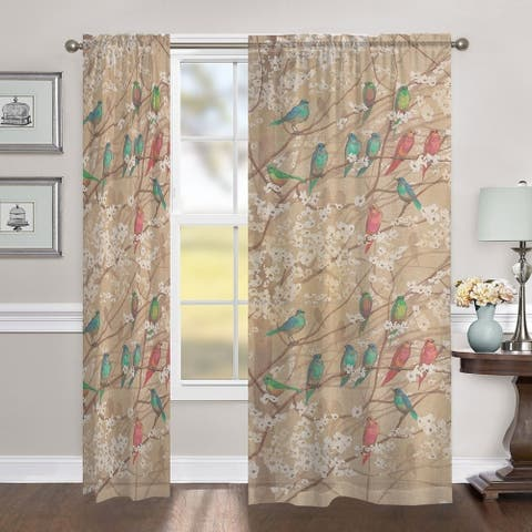 """Laural Home Birds in Bloom 84 Inch Sheer Curtain Panel - 84l""""x50w"""""""