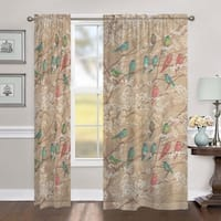 "Laural Home Birds in Bloom 84 Inch Sheer Curtain Panel - 84l""x50w"""