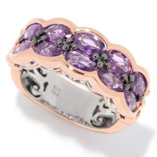 Michael Valitutti Palladium Silver Lilac Sapphire Two-Row Band Ring - Purple