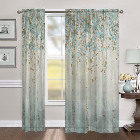 "Laural Home Whimsical Forest 84 Inch Sheer Curtain Panel - 84l""x50w"""