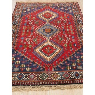 Hand-knotted Wool Rust Traditional Geometric Yalameh Rug (3' 4 x 4' 9)