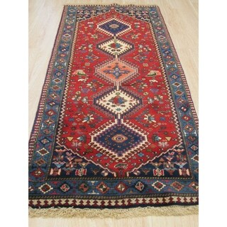 Hand-knotted Wool Rust Traditional Geometric Yalameh Rug - 2' 8 x 6' 4