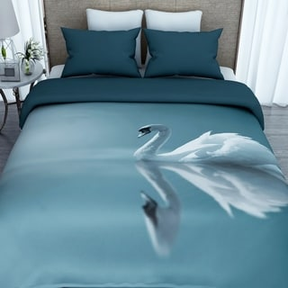 3D Printed Cotton Swan Duvet Cover with 2 Pillowcases