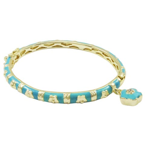 Luxiro Gold Finish Crystal Blue Enamel Flower Charm Children's Bangle