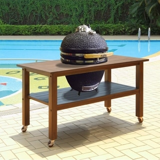 Duluth Forge Table for Large Ceramic Charcoal Kamado Grill and Smoker - Brown Spice