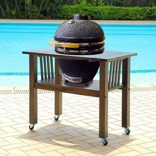 Duluth Forge 18 Inch Kamado Grill With Table - Antique Grey