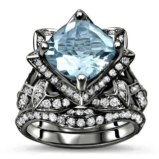 14k Black Gold 3ct TGW Cushion-cut Aquamarine Diamond Engagement Ring Lotus Flower Bridal Set (G-H, SI1-SI2) - Blue