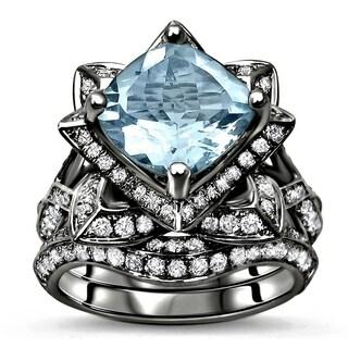 Noori 14k Black Gold 3ct TGW Cushion-cut Aquamarine Diamond Engagement Ring Lotus Flower Bridal Set (G-H, SI1-SI2) - Blue
