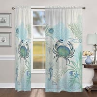 """Laural Home Blue Creature of the Sea 84 Inch Sheer Curtain Panel - 84l""""x50w"""""""