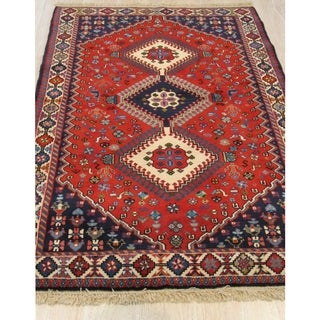Hand-knotted Wool Rust Traditional Geometric Yalameh Rug (3' 5 x 5')