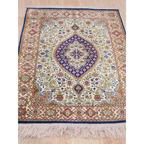 Hand-knotted Silk Ivory Traditional Floral Qum Rug - 2' x 3'