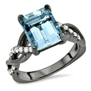 Noori 18k Black Gold 3ct TGW Round-cut Aquamarine Diamond Engagement Ring Bridal Set (G-H, SI2-I1) - Blue