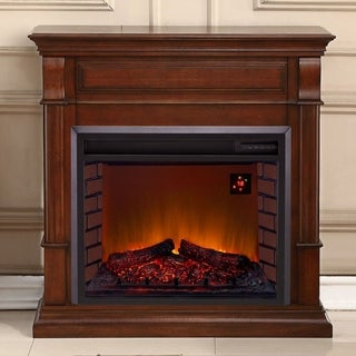 Duluth Forge Full Size Electric Fireplace - Remote Control, Auburn Cherry Finish