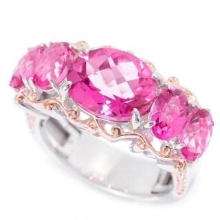 Michael Valitutti Palladium Silver Checkerboard Cut Pink Topaz Five-Stone Ring