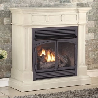 Duluth Forge Dual Fuel Ventless Fireplace - 32,000 BTU, T-Stat Control, Antique White Finish