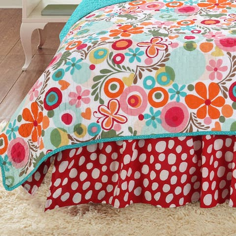 Cotton Tale Lizzie Red and White Dot 15-in Drop BedSkirt