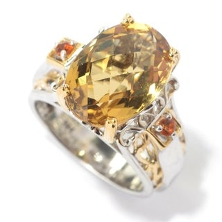 Michael Valitutti Palladium Silver Faceted Citrine Cocktail Ring - Yellow