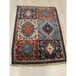 Hand-knotted Wool Blue Traditional Geometric Yalameh Rug (2' 2 x 3')