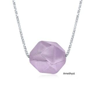 "La Preciosa Sterling Silver 10mm Natural Amethyst Faceted Rock 17+1"" Necklace"