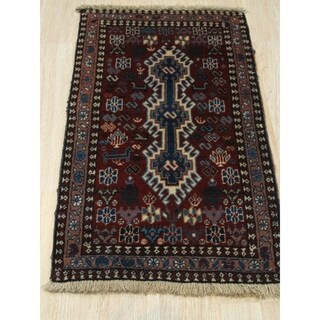 Hand-knotted Wool Rust Traditional Geometric Yalameh Rug - 1' 8 x 2'11